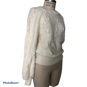 New Gap Women's Cable-Knit Crewneck white Sweater